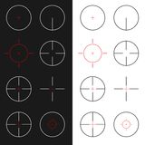 Crosshairs set. Vector collection of 8 different gun sight isolated on white and black background. Graphic elements suitable for web design and flash shooter Stock Photo