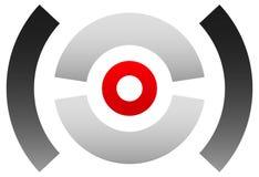 Crosshairsymbol, målsymbol Knappnålsspets bullseyetecken Concentr Arkivbild