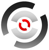Crosshairsymbol, målsymbol Knappnålsspets bullseyetecken Concentr Royaltyfri Bild