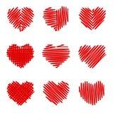 Crosshatching Valentines Set Stock Photography