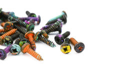 Crosshead screws, covered in colorful paint Stock Photography