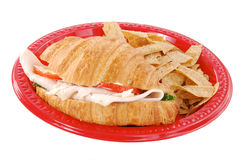 Crossiant sandwich and chips Stock Image