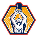 Crossift Athlete Lifting Kettlebell Front Retro Royalty Free Stock Photo