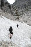 Crossin of snow field in Julian Alps Royalty Free Stock Photo