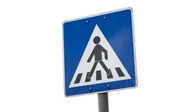 Crossing. Pedestrian crossing traffic sign isolated on white Royalty Free Stock Photography