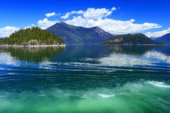 Crossing Arrow Lake from Shelter Bay to Galena Bay, Central British Columbia stock photography