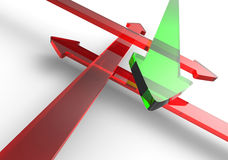 Crossing arrows green red 3 Royalty Free Stock Image