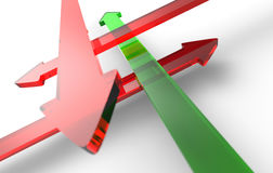 Crossing arrows green red Royalty Free Stock Image
