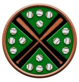 Crossing baseball bats design. This is a Crossing baseball bats design that any baseball player would love! Image also has clipping path for easy editing Stock Image