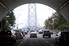 Crossing the bay bridge during rush hour Stock Photography