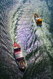 Crossing of boats in river royalty free stock image