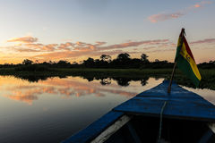 Crossing the Bolivian Amazon. Sunrise on the river Yuruma, in the region of Beni. Bolivia Royalty Free Stock Photography