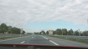 Crossing the border between Hungary and Austria stock footage
