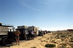 Crossing the border, Western Sahara Royalty Free Stock Images