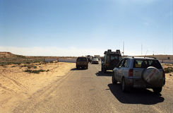Crossing the border, Western Sahara Stock Photography