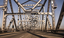 Crossing the Bridge. Crossing the Carquinez Bridge over the San Francisco Bay stock photo