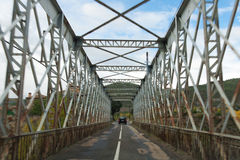 Crossing the bridge. A car is crossing a bridge in Huesca (Spain Stock Photography