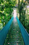 Crossing a bridge in Costa Rica Stock Images