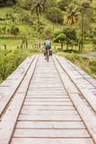 Crossing the bridge on River Chiquito in Guanacaste province of Royalty Free Stock Photo