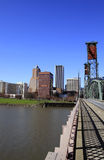 Crossing the Bridge to Portland Downtown. Crossing the Hawthorne Bridge to Portland Oregon Downtown Royalty Free Stock Photography