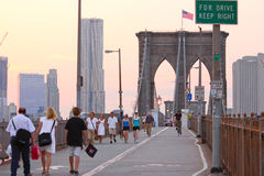 Crossing Brooklyn Bridge Royalty Free Stock Photography