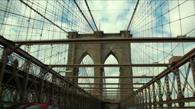 Crossing the Brooklyn Bridge stock video footage