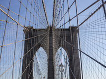 Crossing Brooklyn Bridge on a sunny day, NYC 1 Stock Photos