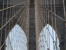 Crossing Brooklyn Bridge on a sunny day, NYC 2 Royalty Free Stock Photos