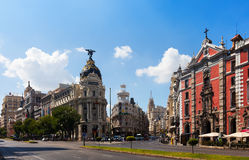 The Crossing  Calle de Alcala and Gran Via. Madrid Royalty Free Stock Image