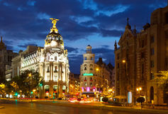 Crossing  Calle de Alcala and Gran Via in night. Madrid Stock Image