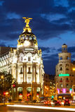The Crossing  Calle de Alcala and Gran Via in night Stock Image