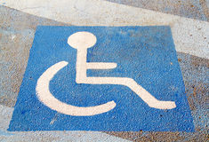 Crossing for disabled. Pedestrian crossing signal for disabled blue Stock Image