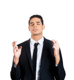 Crossing fingers businessperson Stock Photos