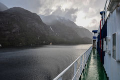 Crossing fjords in Southern Chile Royalty Free Stock Images