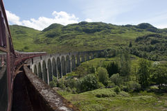 Crossing the Glenfinnan Viaduct on the Jacobite Stock Image