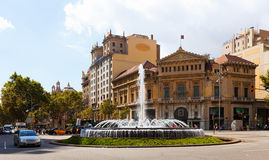 Crossing Gran Via de les Corts Catalanes and Passeig de Gracia Royalty Free Stock Image