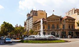 Crossing Gran Via de les Corts Catalanes and Passeig de Gracia Royalty Free Stock Image