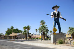 The Crossing Guard. A statue of a cowboy in Yuma, AZ stock images