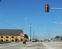 Crossing guard near Lanier Elementary School in Tulsa Oklahoma 10 - 13 - 2017. A Crossing guard near Lanier Elementary School in Tulsa Oklahoma 10 - 13 - 2017 Stock Image