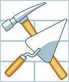 Crossing hammer and trowel Stock Photos