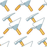 Crossing hammer and trowel pattern Stock Images