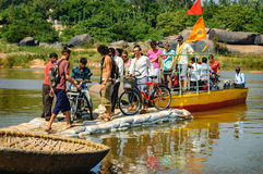 Crossing the Hampi`s river, India Stock Image