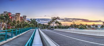 Crossing the Herbert R. Savage Bridge on Collier boulevard Route 951 leading into Marco Island. Florida at sunrise stock photos