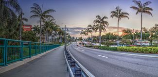 Crossing the Herbert R. Savage Bridge on Collier boulevard Route 951 leading into Marco Island. Florida at sunrise royalty free stock photo