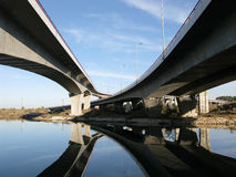 Crossing highway traffic viaducts Stock Photos