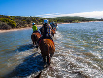 Crossing on the horseback over the Big River Ranch in Kalbarri Royalty Free Stock Photos