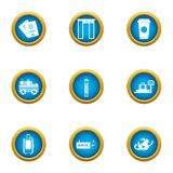 Crossing icons set, flat style. Crossing icons set. Flat set of 9 crossing vector icons for web isolated on white background royalty free illustration