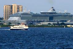 Crossing II. Small Ferry crossing San Juan's Bay Royalty Free Stock Image