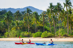 Crossing kayaking to the island of Koh Chang on the neighboring Royalty Free Stock Photography