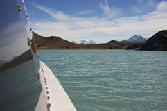 Crossing a lake. Crossing lake in patagonia by a boat Royalty Free Stock Images